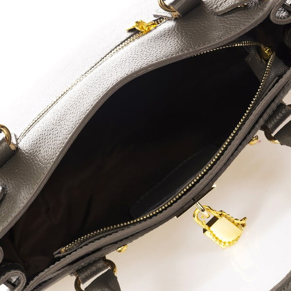Tmavě šedá kožená kabelka Giulia Massari Dollaro