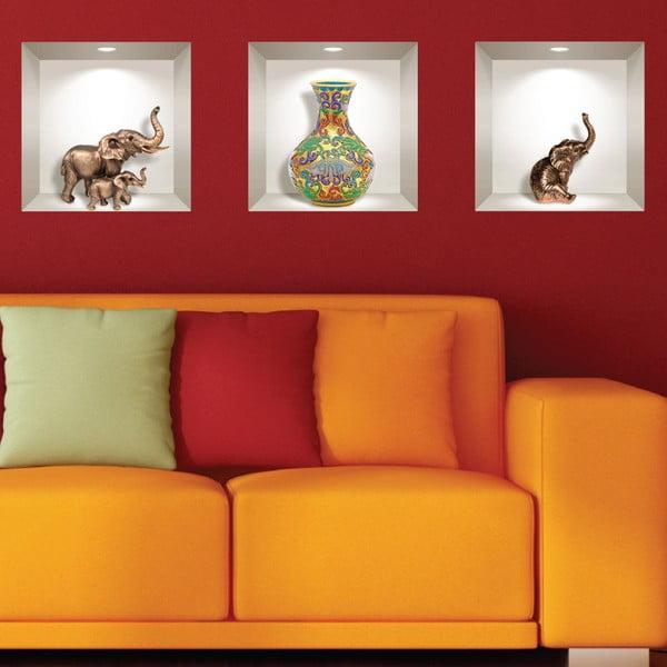 Set 3 autocolante 3D pentru perete Ambiance Elephants