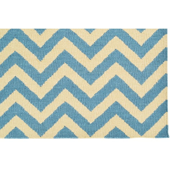 Ručně tkaný koberec Light Blue Ziggy Kilim, 155x242 cm