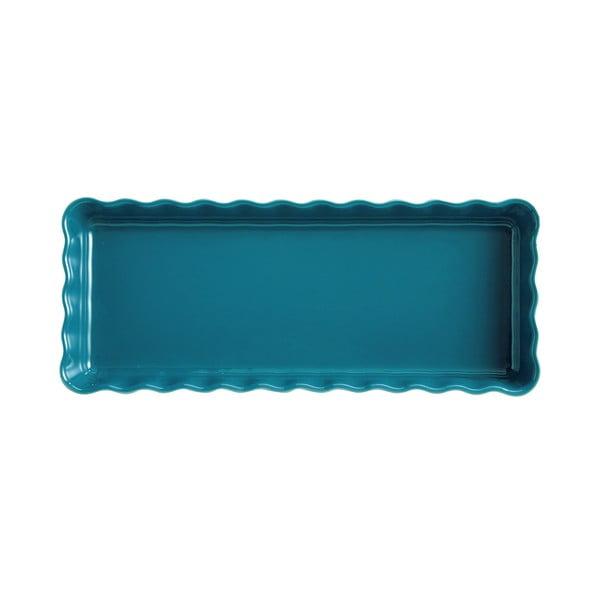Formă dreptunghiulară pentru plăcintă Emile Henry, 15 x 36 cm, albastru turcoaz