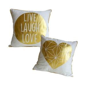 Sada 2 polštářů se zlatými potisky Maiko Live Laugh Love,45x45cm