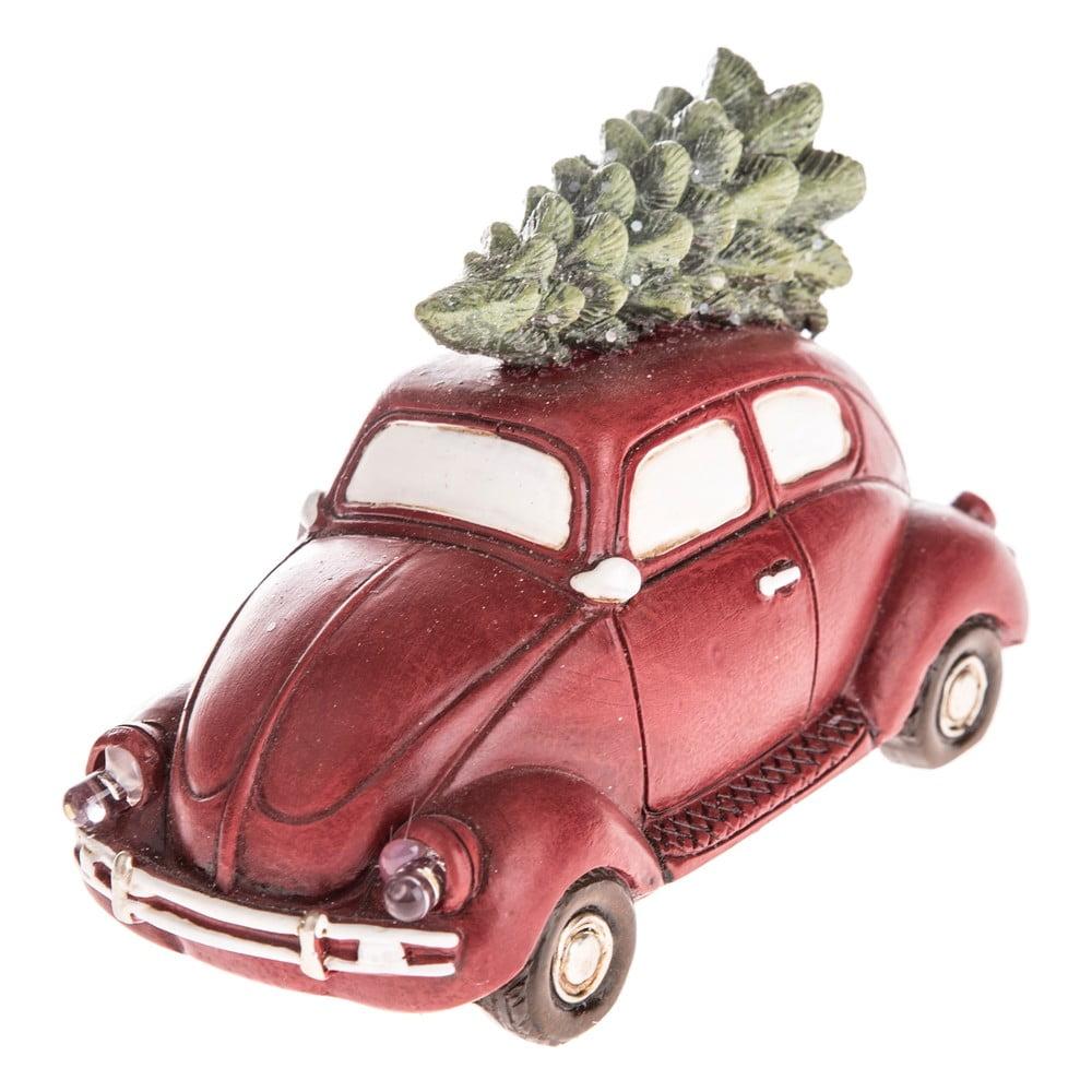 Červené vánoční auto s LED světlem Dakls, délka 11,5 cm