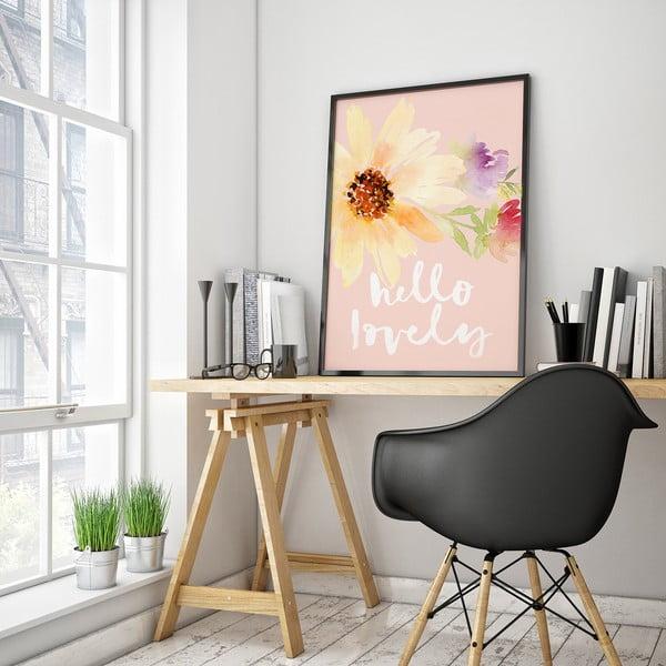 Plakát s květinami Hello Lovely, 30 x 40 cm