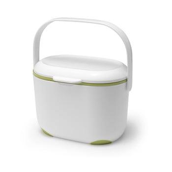 Recipient pentru compost deșeuri organice Addis Caddy, 2,5 l, alb-verde imagine