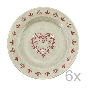 Sada keramických talířů Antic Line Heart 20 cm (6 ks)