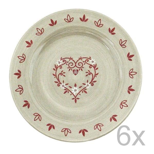 Sada keramických talířů Heart 20 cm (6 ks)