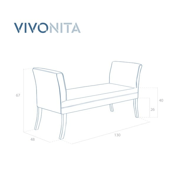 Světle šedá lavice Vivonita Selma Linen, 130x67cm