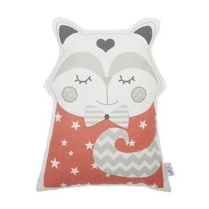 Červený dětský polštářek s příměsí bavlny Apolena Pillow Toy Smart Cat, 23 x 33 cm