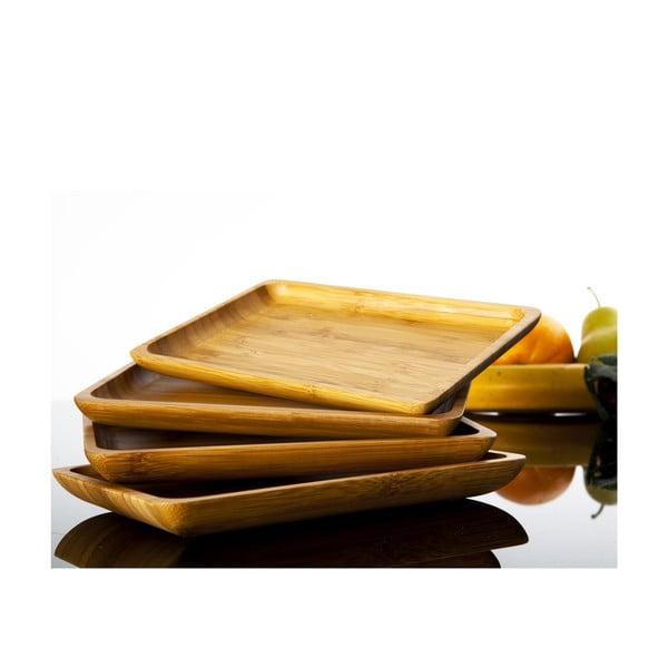 Zestaw 4 bambusowych tacek Bambum Verdure