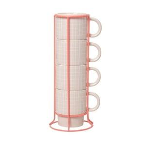 Sada 4 hnrků se stojánkem Cappuccino Grid Pink