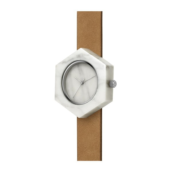 Bílé hranaté mramorové hodinky s hnědým řemínkem Analog Watch Co.