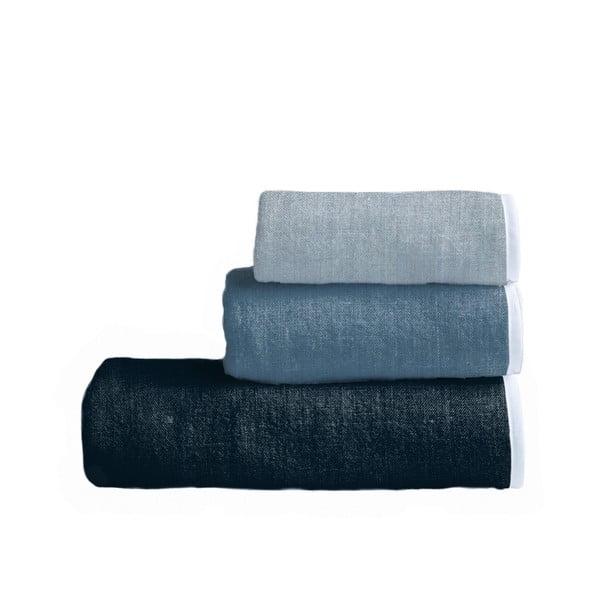 Sada 3 ručníků Linen Couture Toalla Blue Gardient