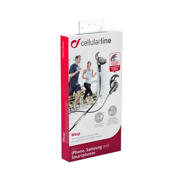 Sportovní sluchátka CellularLine WASP s mikrofonem, černá