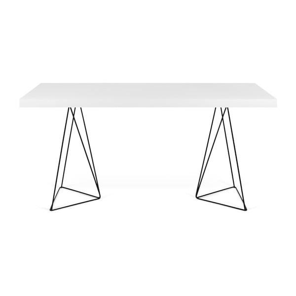 Bílý jídelní stůl s kovovými nohami TemaHome Trestle, 90 x 160 cm