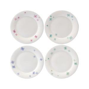 Sada 4 talířů z kostního porcelánu Petal, 15 cm