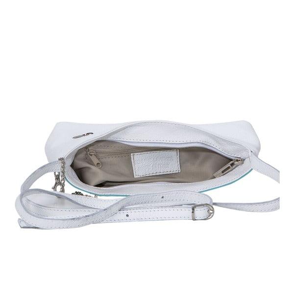 Kožená kabelka Francesco, bílá/modrá