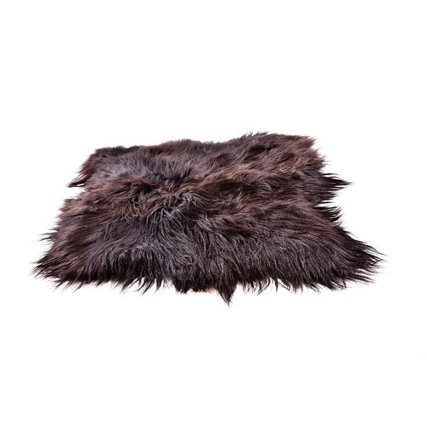Tmavý kožešinový koberec s dlouhým chlupem, 90x80cm