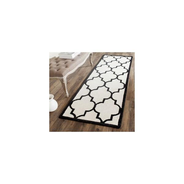 Vlněný koberec Everly 76x243 cm, bílý/černý