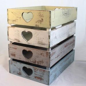 Dřevěné přepravky Hearts, 4 ks