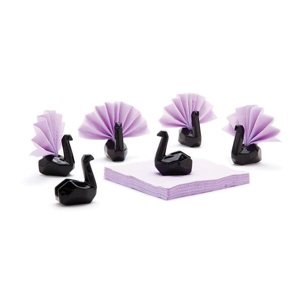 Sada keramických stojánků na ubrousky, Napkin swan 6ks, černé