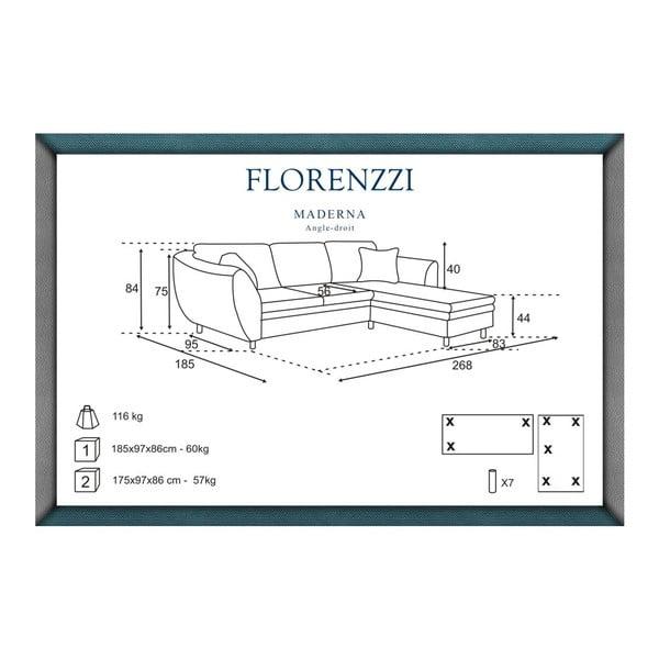 Hnědá pohovka Florenzzi Maderna s lenoškou na pravé straně