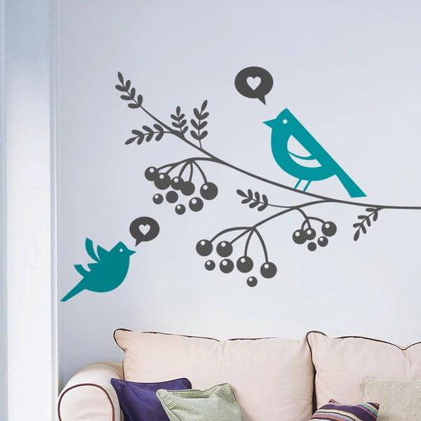 Samolepka na stěnu Ptáci a bobule, 70x50 cm