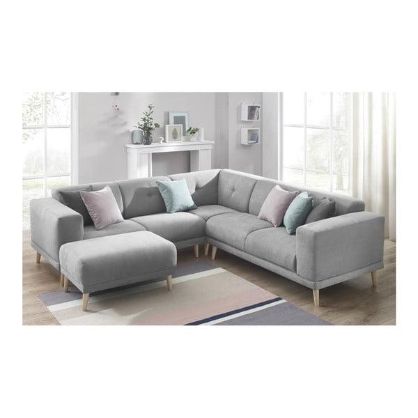 Canapea cu suport pentru picioare Bobochic Luna, gri