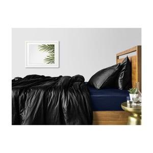 Sada 2 černých bavlněných povlečení na jednolůžko s modrým prostěradlem COSAS Lago, 160 x 220 cm