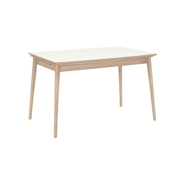 Rozkladací jedálenský stôl s bielou doskou WOOD AND VISION Curve, 142 × 84 cm