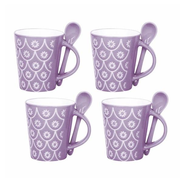 Sada 4 šálků s lžičkami Mugs, fialová