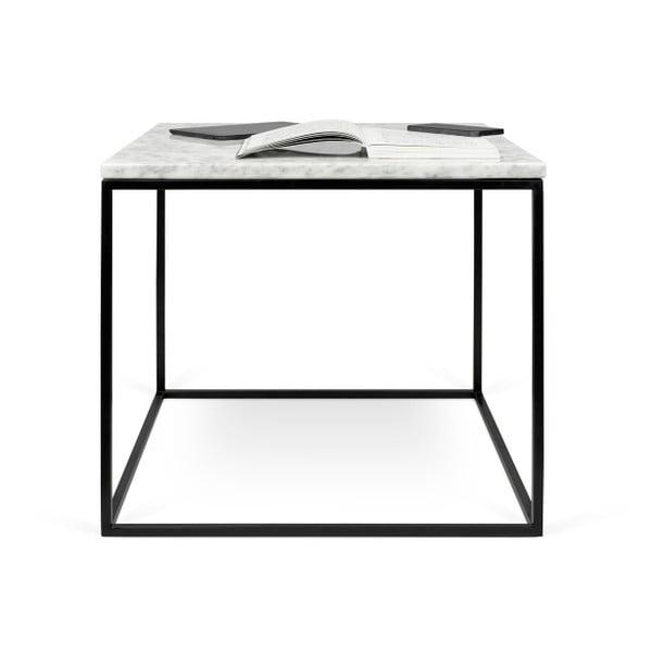 Bílý mramorový konferenční stolek s černými nohami TemaHome Gleam, 50 cm