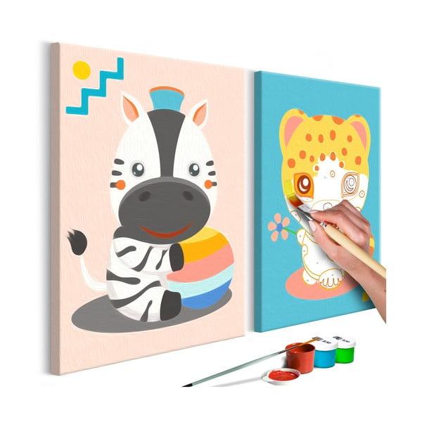 DIY set na tvorbu vlastního dvoudílného obrazu na plátně Artgeist Animals, 33x23 cm