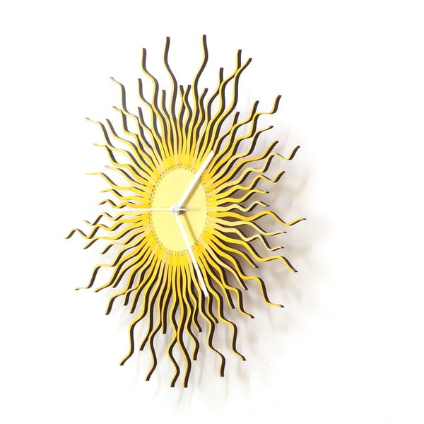 Dřevěné hodiny Medusa zlaté, 41 cm