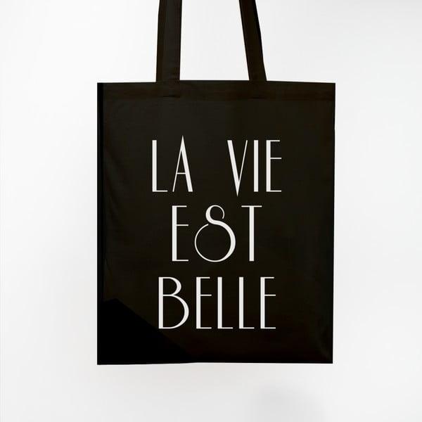Plátěná taška La Vie Est Belle Black