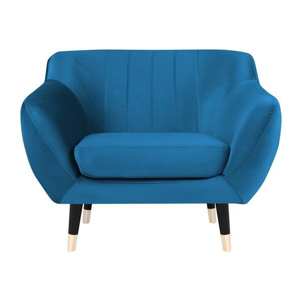 Fotoliu Mazzini Sofas BENITO cu picioare negre, albastru