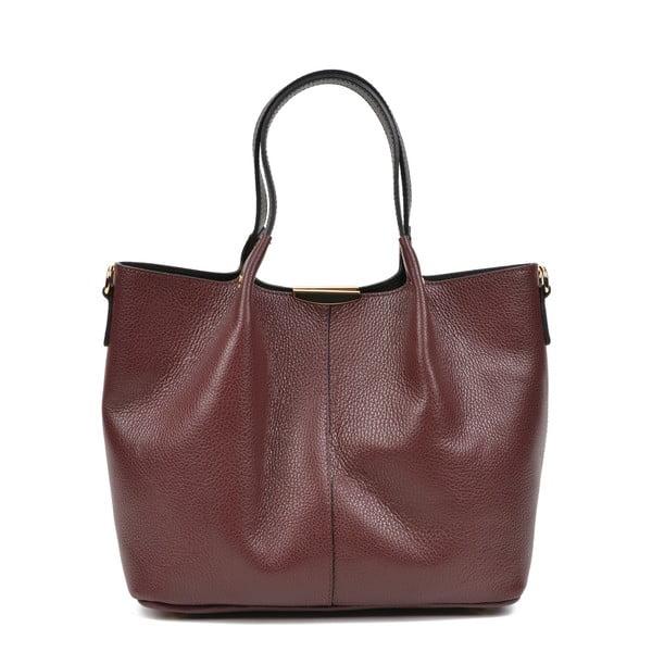 Vínově červená kožená kabelka s černými uchy Carla Ferreri