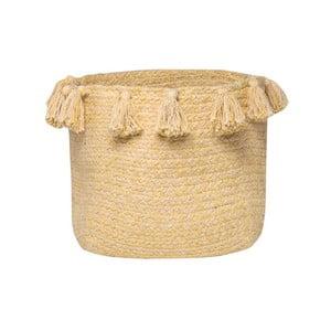 Žlutý bavlněný ručně tkaný box Nattiot, Ø 25 cm