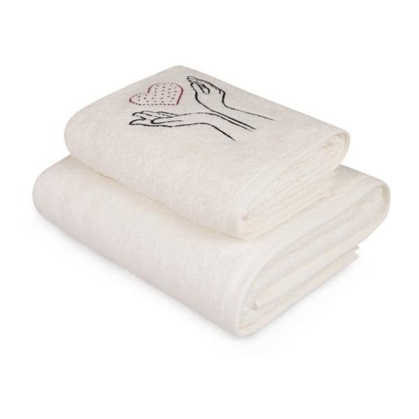 Set bílého ručníku a bílé osušky s barevným detailem Madame Coco Amour