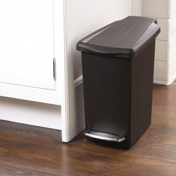 Černý pedálový koš na odpadky simplehuman Gigi, 10 l