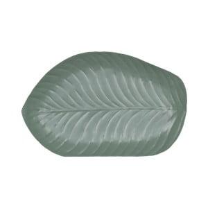 Zelený cínový podnos ve tvaru listu Strömshaga, 25 x 38 cm