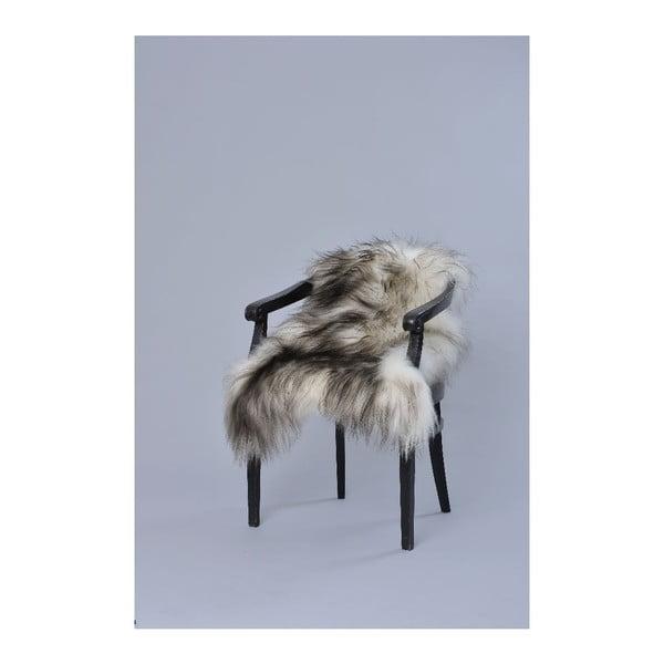 Hnědo-bílá ovčí kožešina s dlouhým chlupem Ptelja, 100x60cm