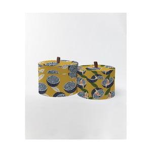 Kulaté úložné krabice Surdic Round Boxes Lemons s motivem citrónů, 30 x 30 cm
