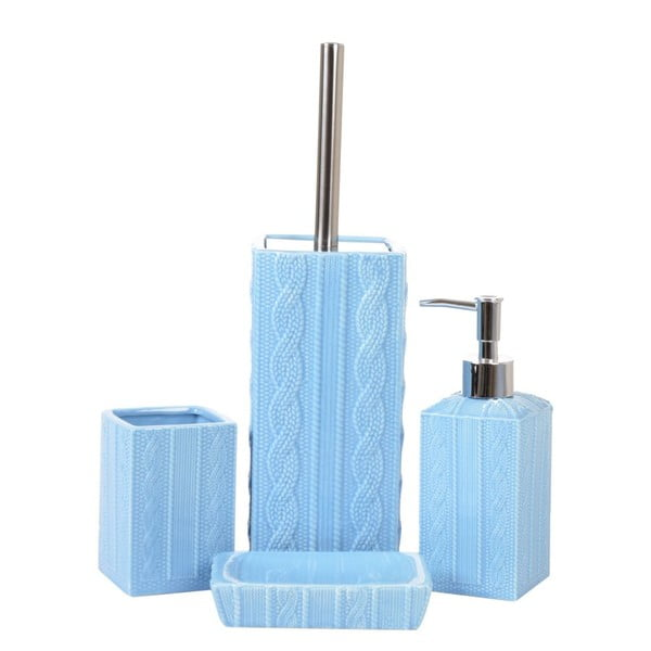 Sada 4ks koupelnových doplňků Ornament Blue