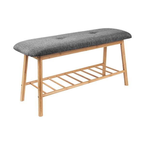 Bambusowa ławka z ciemnoszarym siedziskiem Leitmotiv Bench