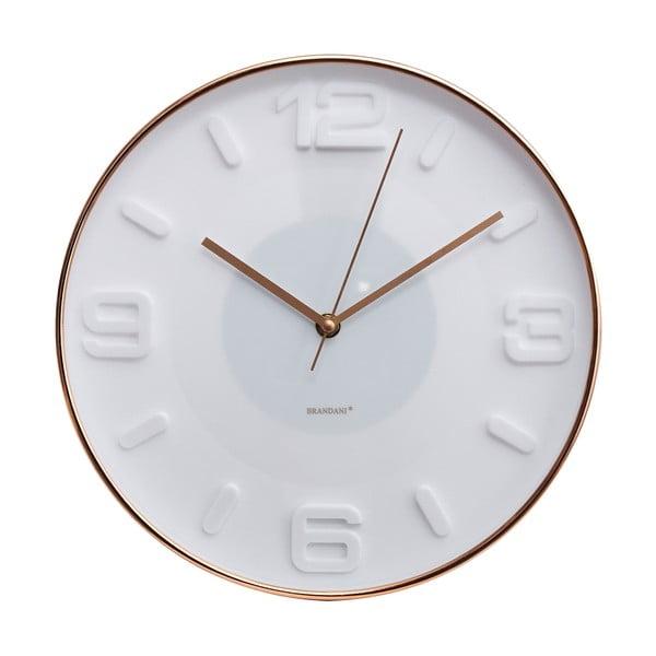 Biele nástenné hodiny Brandani Rose Gold