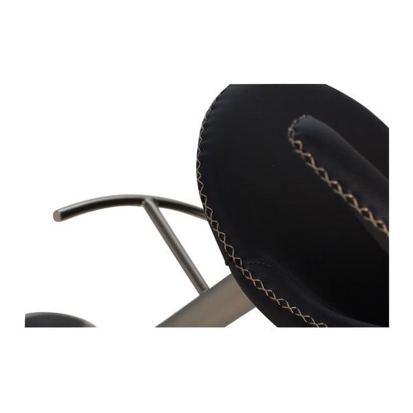 Černá barová nastavitelná židle s koženým sedákem DAN-FORM Denmark Flair