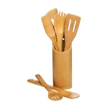 Set 6 ustensile de bucătărie cu suport Premier Housewares Bamboo Set