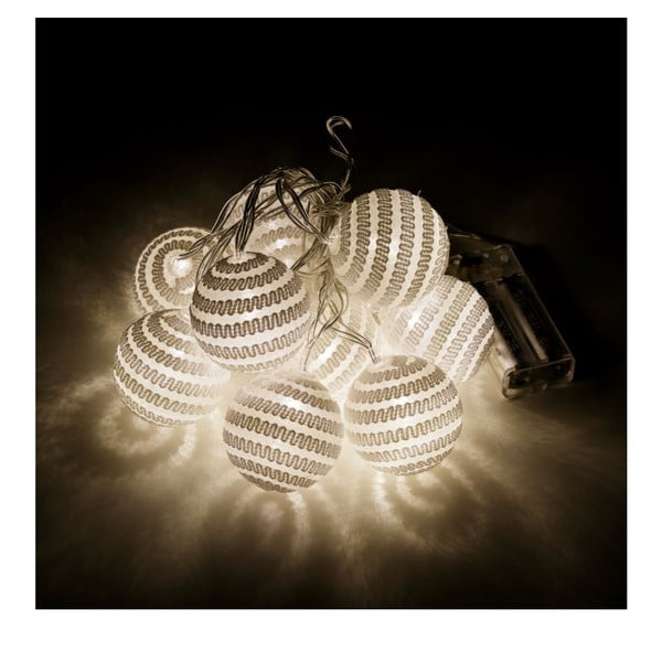 Lanț luminos Unimasa Pattern, 10 LED beculețe, crem