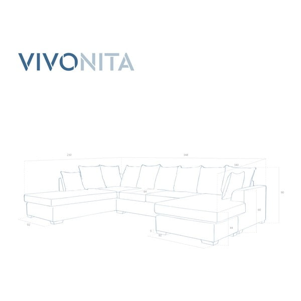 Hnědá rohová pohovka Vivonita Linus