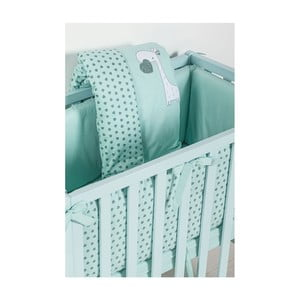 Set dětského zeleného povlečení a matrace s bezpečnostní zábranou Picci Nina Crib